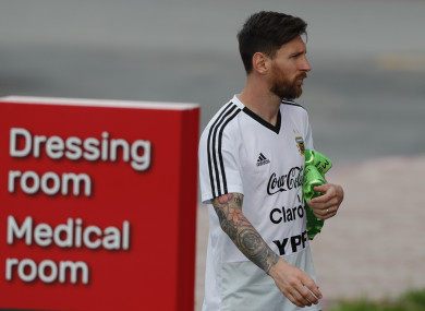 Lionel Messi arrives for a training session of Argentina.