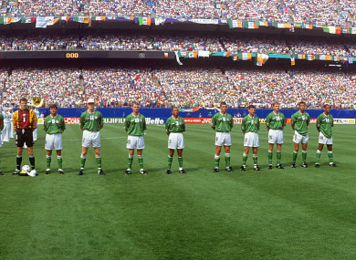 Ireland line-up before the kick off. (l-r) Andy Townsend, Packie Bonner (goalkeeper), Ray Houghton, Steve Staunton, John Sheridan, Terry Phelan, Roy Keane, Denis Irwin, Tommy Coyne, Paul McGrath and Phil Babb.