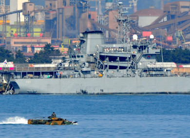 File photo of South Korean amphibious assault landing vehicles move to a landing ship at the sea near Pohang, South Korea, during joint war games with the US on March 7, 2016.