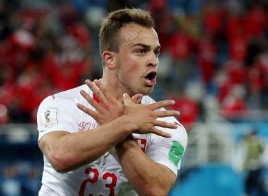 Xherdan Shaqiri celebrates for Switzerland.