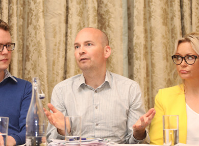 Paul Murphy (centre) speaking today alongside USI's Damien McClean and Elaine Byrnes.