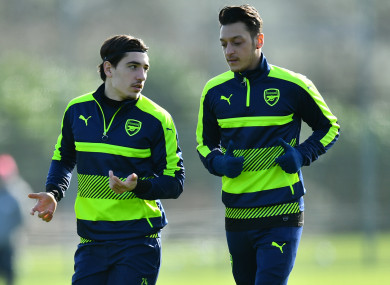 Arsenal's Hector Bellerin and Mesut Ozil in training.
