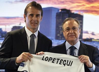 Real Madrid coach Julen Lopetegui and president Florentino Perez