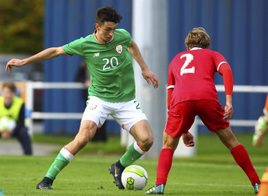 UCD player Neil Farrugia pictured competing for Ireland U19s.