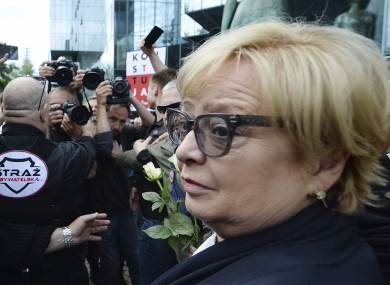 Malgorzata Gersdorf arrives for work at the Supreme Court building in Warsaw.