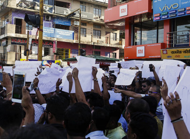 Photo from 10 June: Protests in Assam after the deaths of two young men who were lynched after rumours spread by WhatsApp.