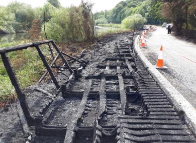The destroyed boardwalk at Oldbridge, Co Meath