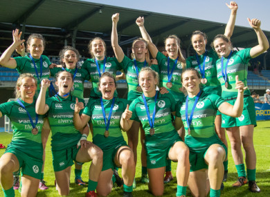 Ireland celebrate their bronze medal win in Paris.