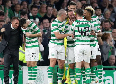 Celtic players celebrate Leigh Griffiths' goal.