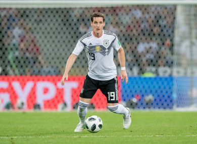 Sebastian Rudy in possession for Germany during their game against Sweden at the 2018 World Cup.