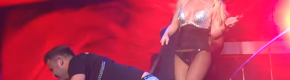 Britney led a bloke called Kirk around on a dog leash in Dublin's 3Arena last night