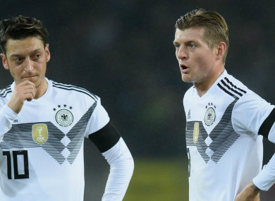 Former Germany international Mesut Ozil and Toni Kroos