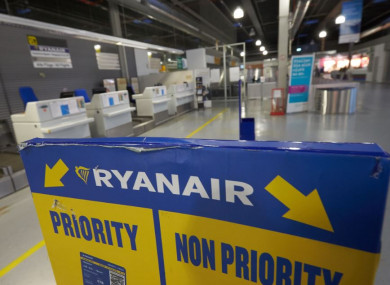 Empty Ryanair check-in counters at Frankfurt–Hahn Airport in Germany today.