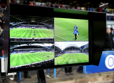 The VAR or Video Assistant Referee monitor.
