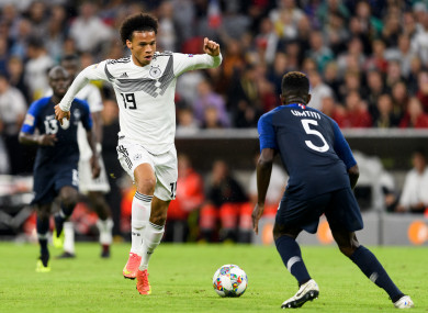 Sane taking on world champions France last night.