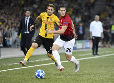 Dalot in action against Young Boys winger Miralem Sulejmani.