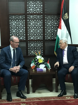 Simon Coveney with Mahmoud Abbas