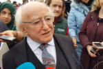 President Michael D Higgins at the National Ploughing Championships this morning