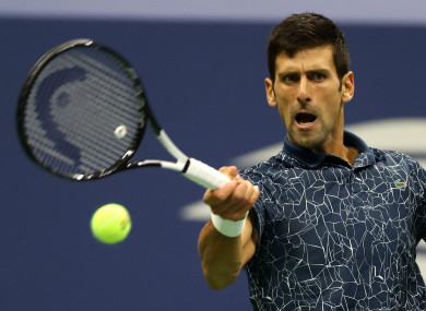 Novak Djokovic in action during the US Open final