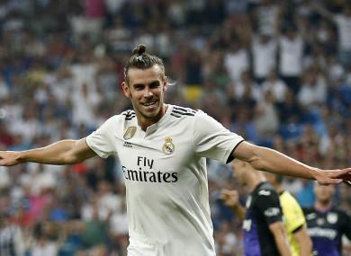 Gareth Bale celebrates a goal.