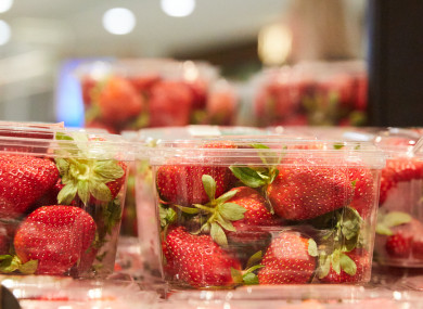 Strawberry punnets are seen at a supermarket in Sydney.