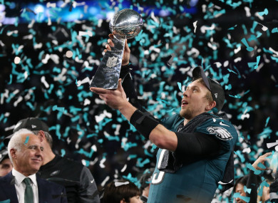 Eagles quarterback Nick Foles with the Vince Lombardi Trophy.