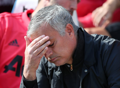 Jose Mourinho during Manchester United's defeat to West Ham.