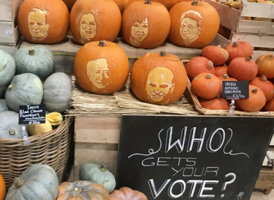 Carved pumpkins depicting the presidential candidates at Fallon and Byrne in Dublin.