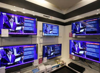 Fine Gael Minister for Finance, Public Expenditure and Reform Paschal Donohoe TD on television screens in Arnotts department store.