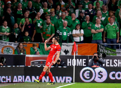 Bale celebrates scoring against Ireland in Cardiff last month.