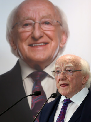 President Michael D Higgins launching his re-election campaign.