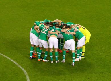 Ireland huddle before the game last night.