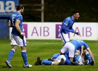 Finn Harps' John Kavanagh celebrates his goal with team-mates.