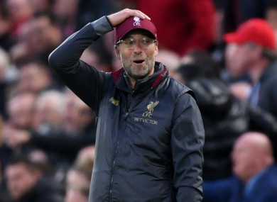 Jurgen Klopp looks on during Liverpool's draw with Manchester City