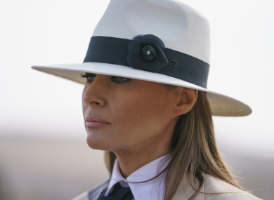 Melania Trump during a visit to the historical Giza Pyramids site near Cairo. 6 Oct