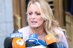 Stormy Daniels outside a court in New York.