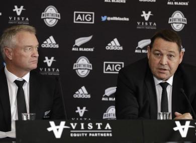 New Zealand head coach Steve Hansen (right) and selector Grant Fox earlier today.