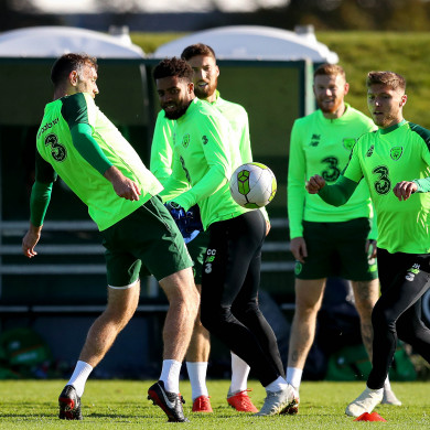Ireland players train ahead of tonight's match with Wales.