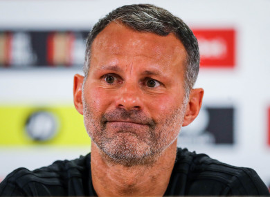 Giggs speaking at today's Wales squad announcement.