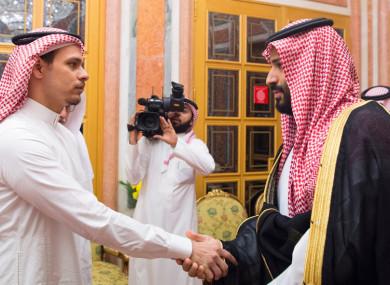 Saudi Crown Prince Mohammed bin Salman receives killed journalist Jamal Khashoggi's son Salah to