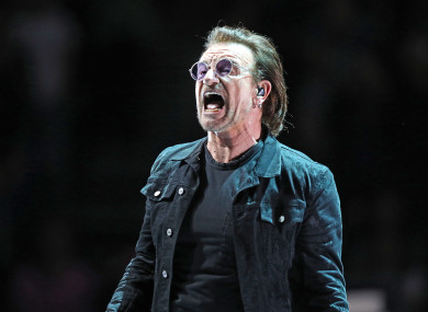 Bono (Paul Hewson) performs on stage at the O2 Arena, London.