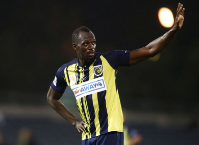 Central Coast Mariners trialist Usain Bolt.