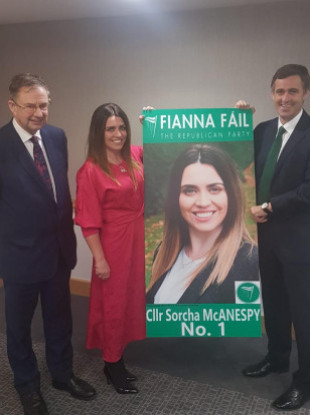 Eamon Ó Cuív (L) in Tyrone launching Sorcha McAnespy's campaign with Senator Mark Daly.