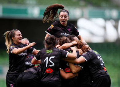 Wexford celebrate Katrina Parrock's opening goal.