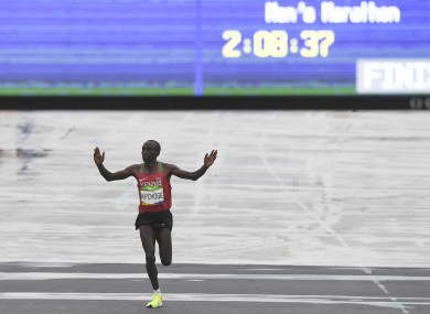 Eliud Kipchoge of Kenya celebrates winning gold in the Men's Marathon at the Rio Olympic Games