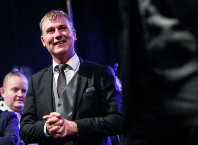 Dundalk manager Stephen Kenny pictured at Monday night's homecoming following their FAI Cup triumph.