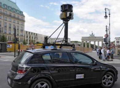 A google street view car drives near the Brandenburg Gate in Berlin, Germany
