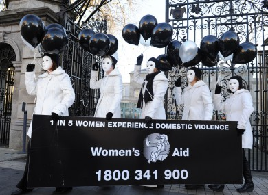 Women's Aid volunteers pictured at Leinster House yesterday.