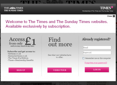 Users visiting the Times and Sunday Times' websites since July have been asked to subscribe to read their content.