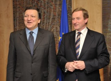 Jose Manuel Barroso and Enda Kenny this evening in Brussels.